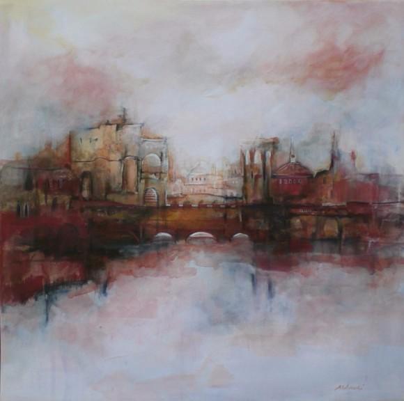11.La città sul ponte rosso. mista su tela.60x60 cm.anno 2015